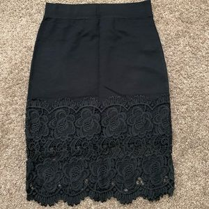 Black laced pencil skirt